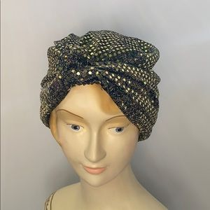 Vintage Black & Gold Sequin Sparkle Turban Hat